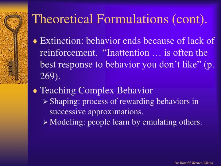 Theoretical Formulations (cont).