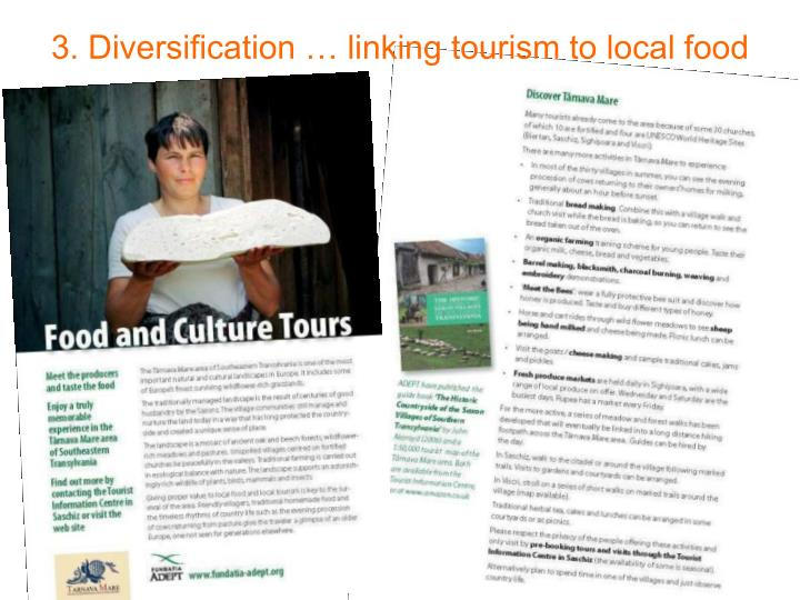 3. Diversification … linking tourism to local food