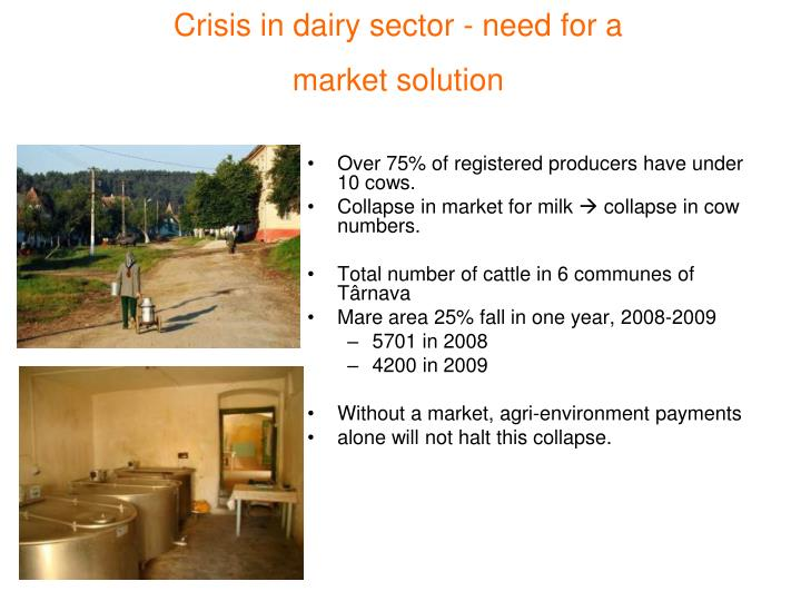 Crisis in dairy sector - need for a