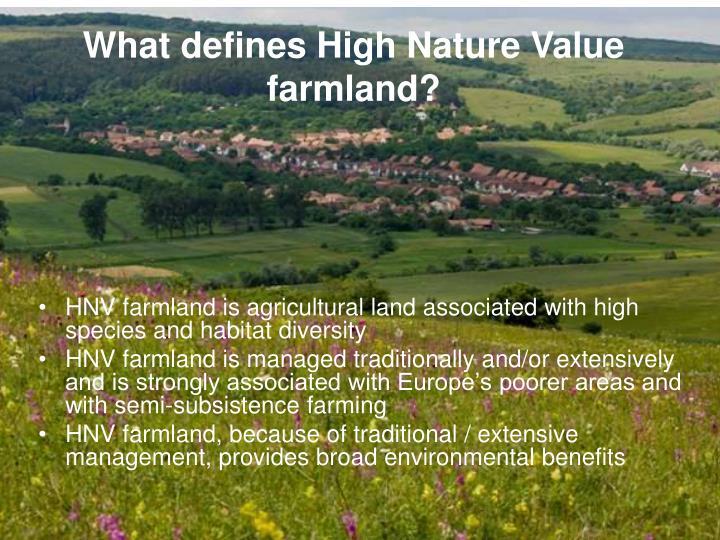 What defines High Nature Value farmland?