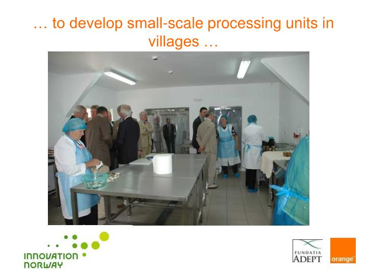 … to develop small-scale processing units in villages …