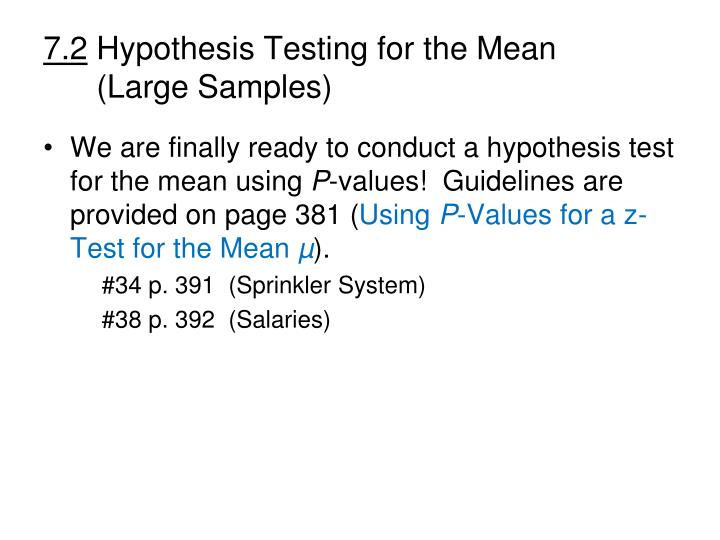 7 2 hypothesis testing for the mean large samples2