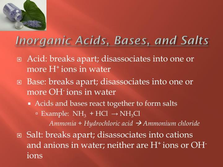 Inorganic Acids, Bases, and Salts