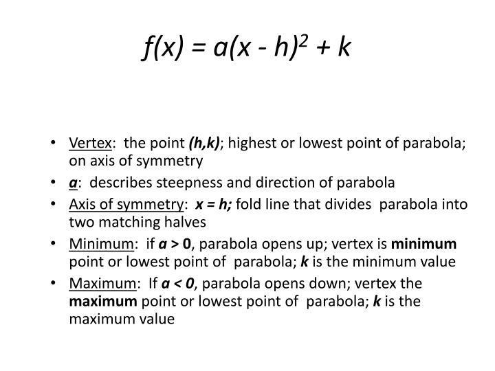 f(x) = a(x - h)