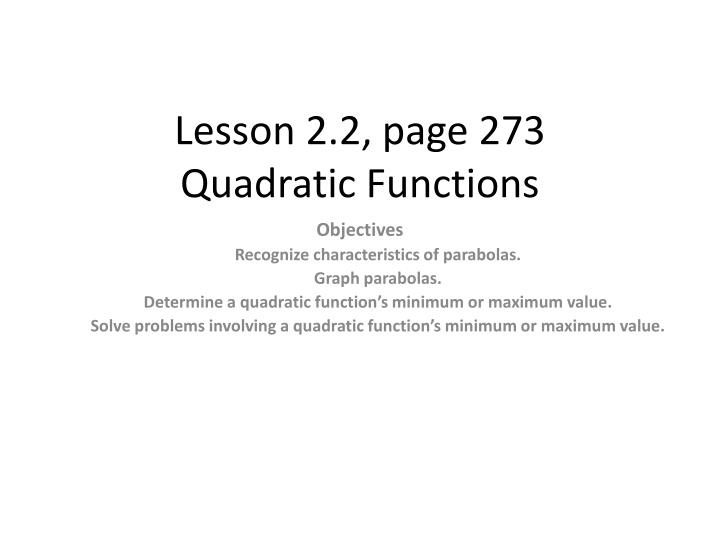 Lesson 2 2 page 273 quadratic functions