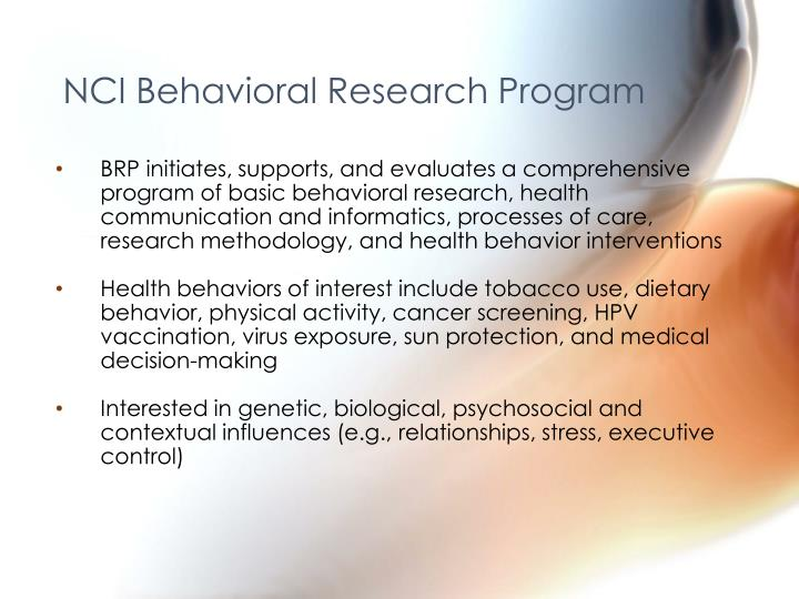 Nci behavioral research program