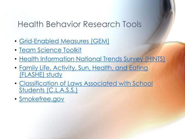 Health Behavior Research Tools