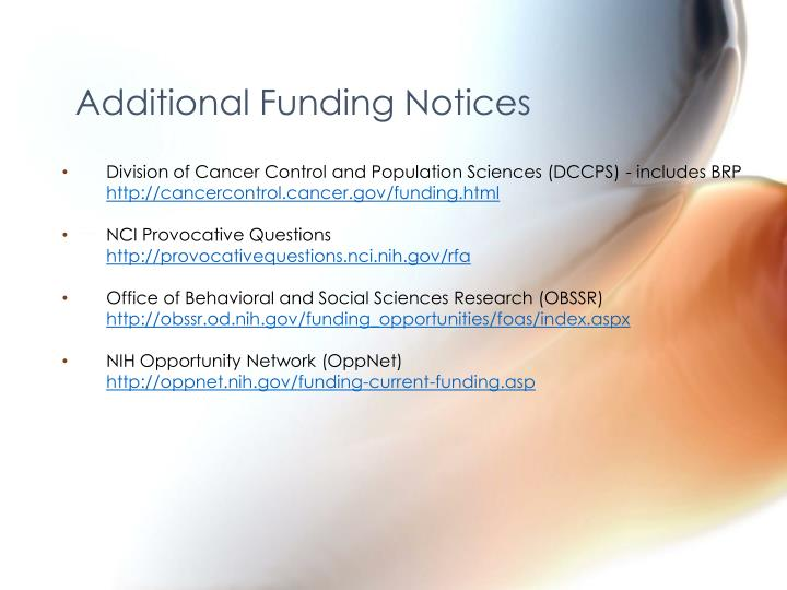Additional Funding Notices