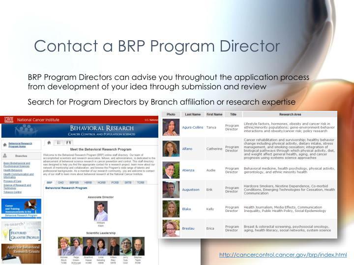 Contact a BRP Program Director