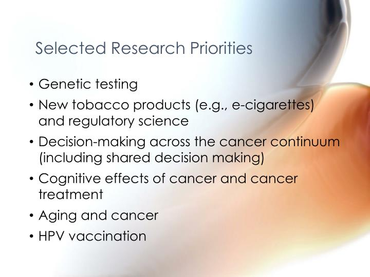 Selected Research Priorities