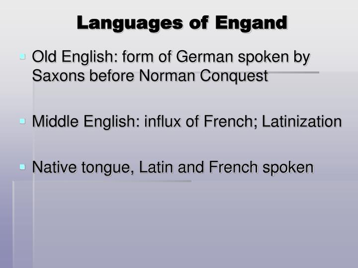 Languages of Engand