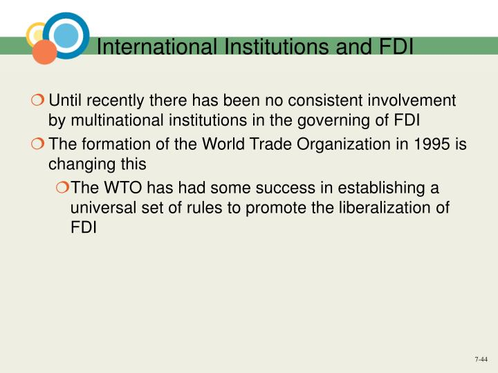 International Institutions and FDI