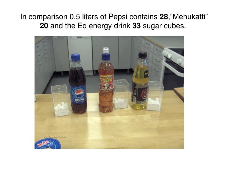In comparison 0,5 liters of Pepsi contains