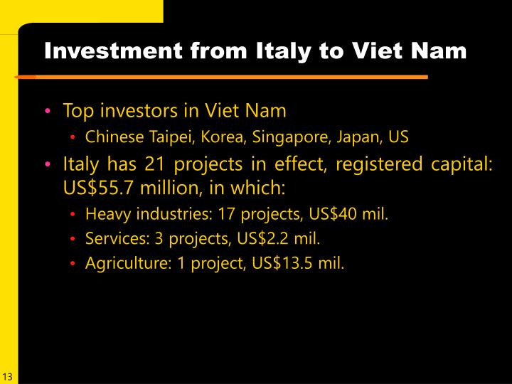 Investment from Italy to Viet Nam