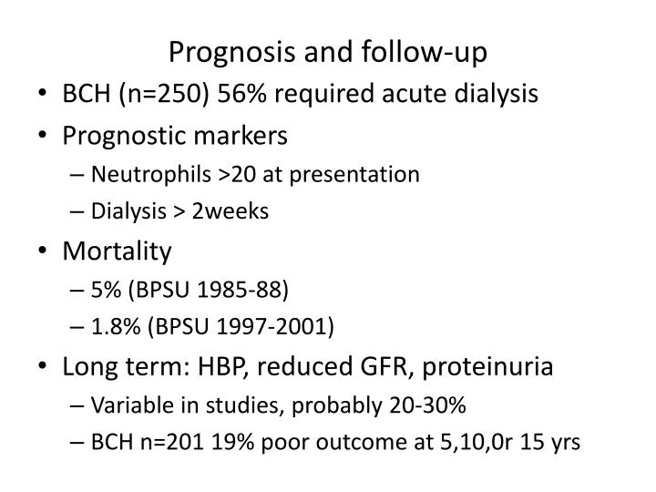 Prognosis and follow-up
