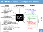 aea method inputs assumptions results