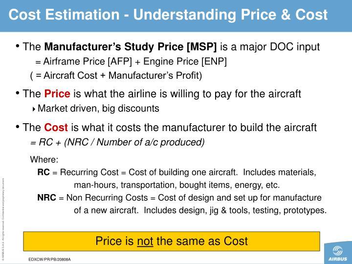Cost Estimation - Understanding