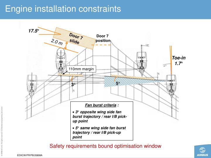 Engine installation constraints