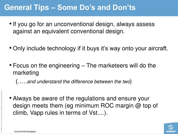 General Tips – Some Do's and Don'ts