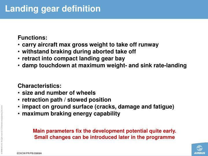 Landing gear definition