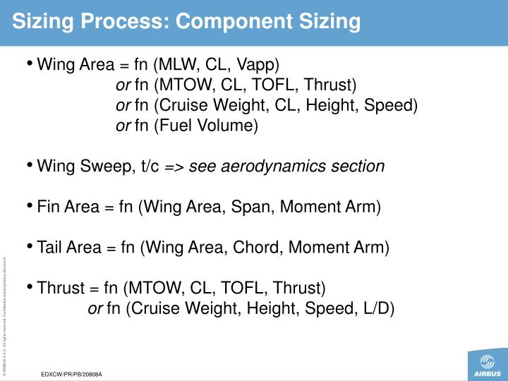 Sizing Process: Component Sizing