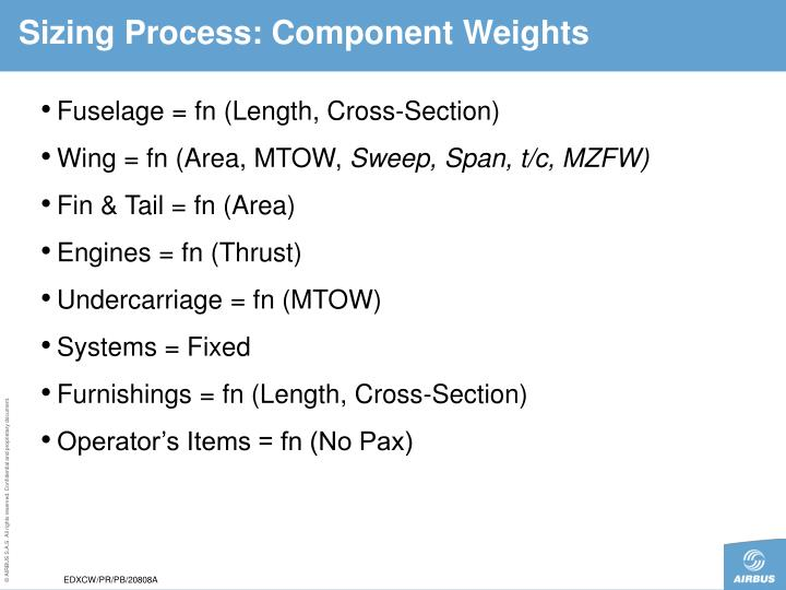 Sizing Process: Component Weights