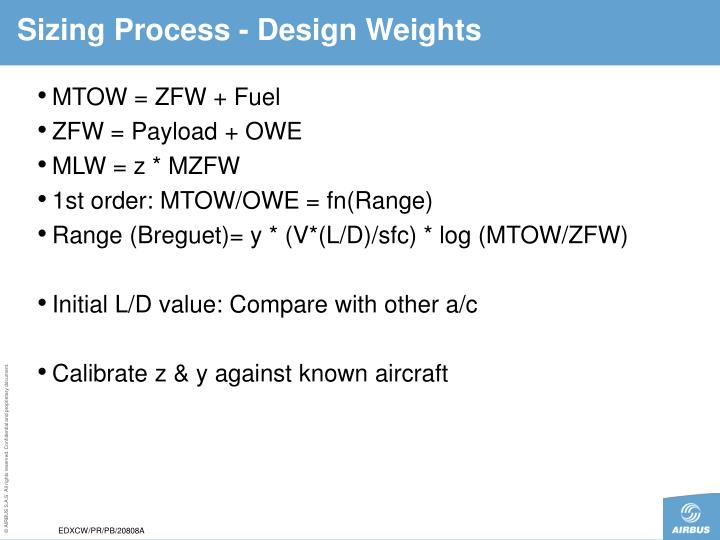 Sizing Process - Design Weights