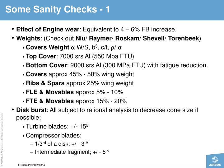 Some Sanity Checks - 1