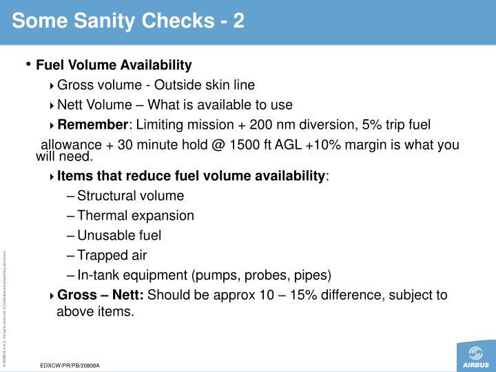 Some Sanity Checks - 2
