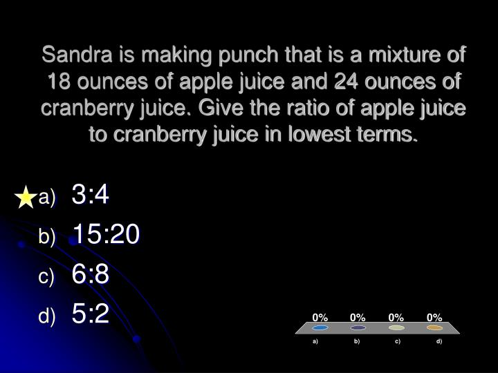 Sandra is making punch that is a mixture of 18 ounces of apple juice and 24 ounces of cranberry juice. Give the ratio of apple juice to cranberry juice in lowest terms.
