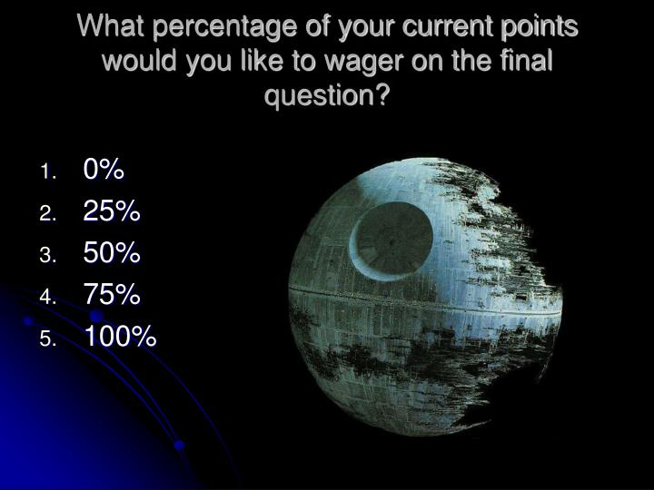 What percentage of your current points would you like to wager on the final question?