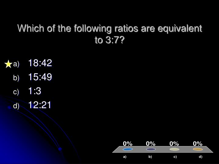 Which of the following ratios are equivalent to 3:7?
