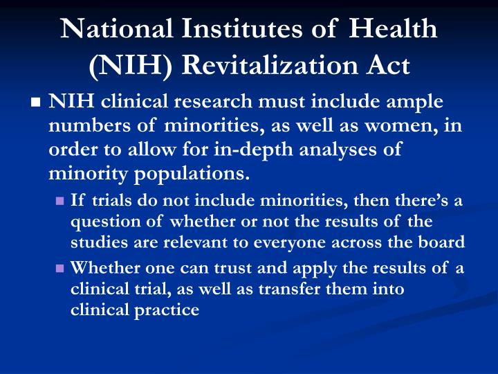 National Institutes of Health (NIH) Revitalization Act