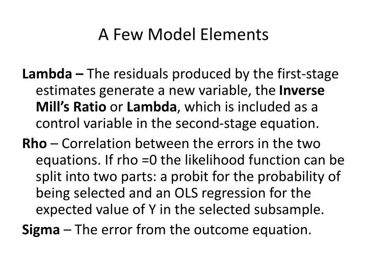 A Few Model Elements