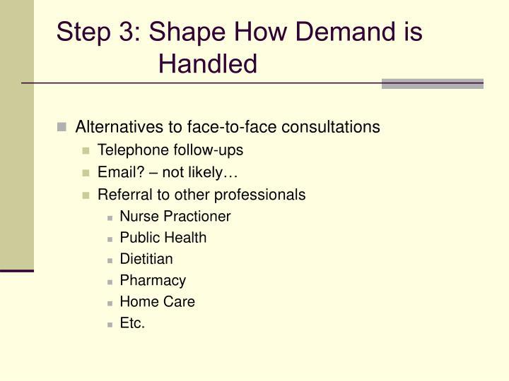 Step 3: Shape How Demand is Handled