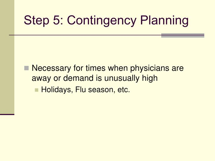 Step 5: Contingency Planning