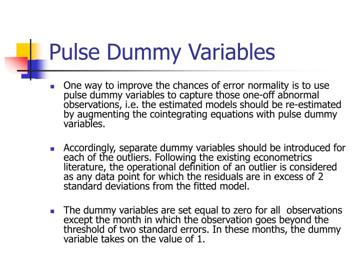 Pulse Dummy Variables