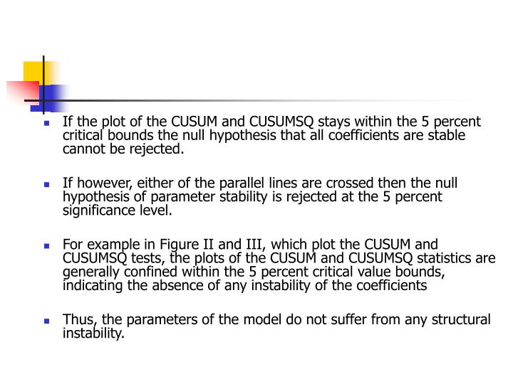 If the plot of the CUSUM and CUSUMSQ stays within the 5 percent critical bounds the null hypothesis that all coefficients are stable cannot be rejected.