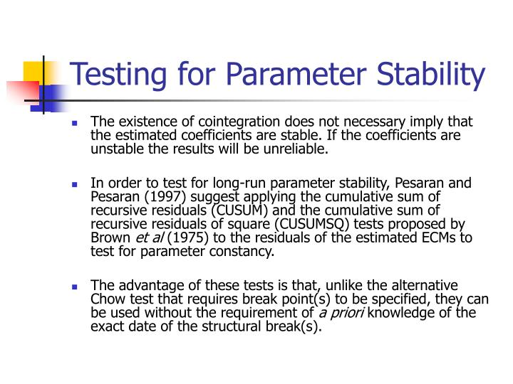 Testing for Parameter Stability