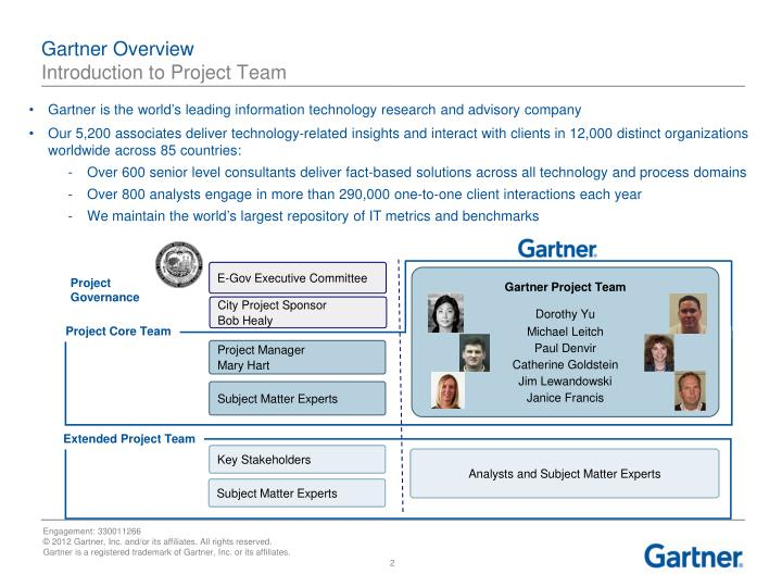 Gartner overview introduction to project team