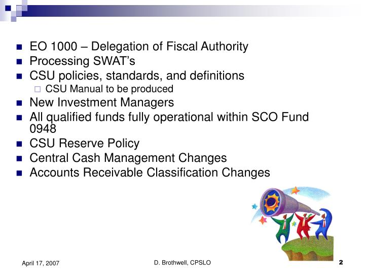 EO 1000 – Delegation of Fiscal Authority
