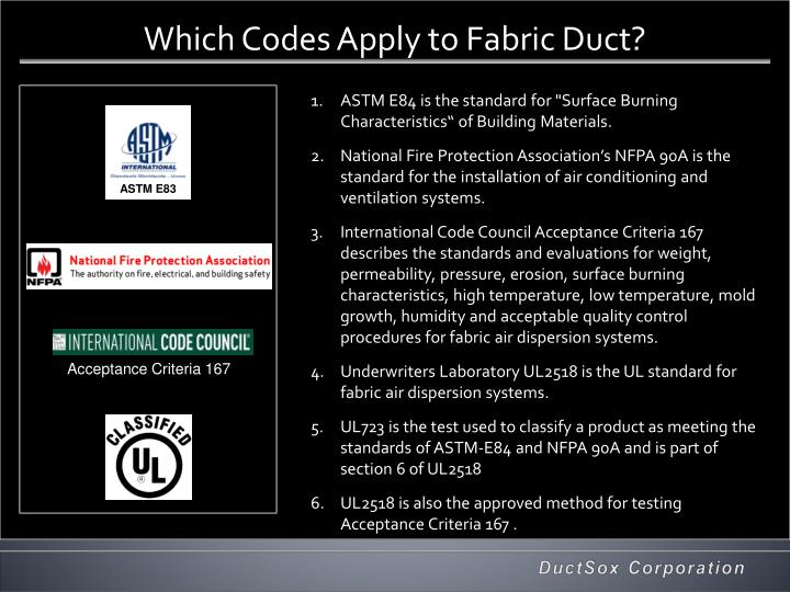 Which Codes Apply to Fabric Duct?