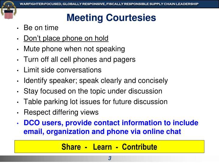 Meeting Courtesies