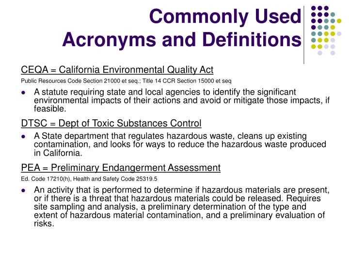 Commonly used acronyms and definitions