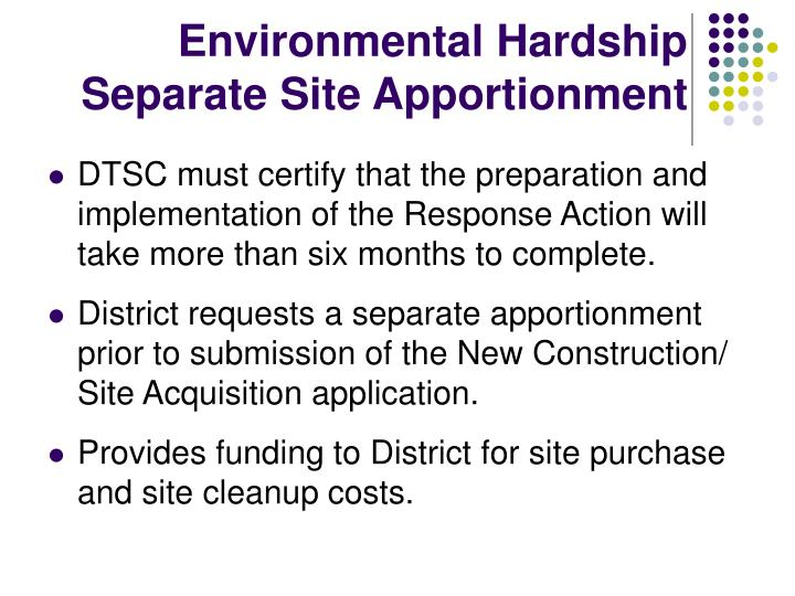 Environmental Hardship Separate Site Apportionment