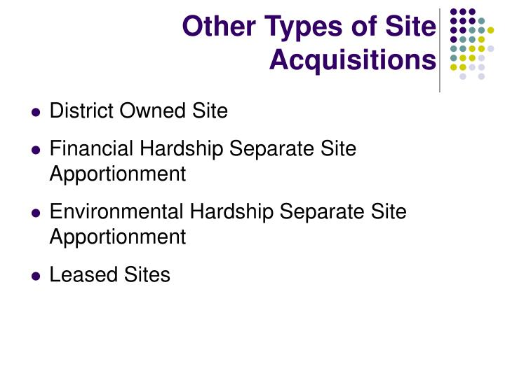 Other Types of Site Acquisitions