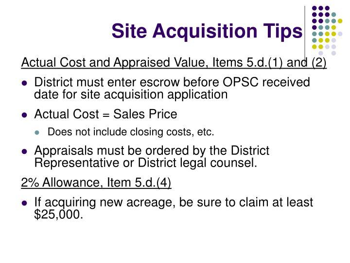 Site Acquisition Tips