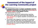 assessment of the impact of the learning community project