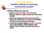 cluster observations positive effects of learning community project