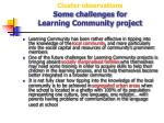 cluster observations some challenges for learning community project